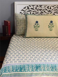 Block Printed Double Bed Cover in Shades of Green, Blue Slate Grey and Khaki - Cotton Curio
