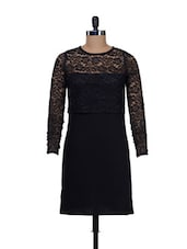 Chic Black Half Net Dress -  online shopping for Dresses