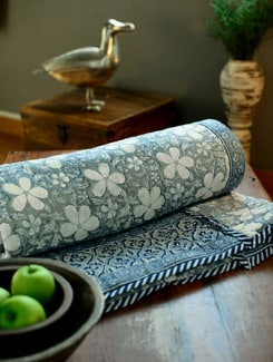 Blue and Grey Floral Jaipuri Razai (Single Bed) - KILOL