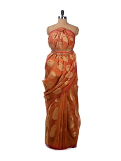 Orange Hued Silk Organza Saree with Attached Blouse Piece - Bunkar
