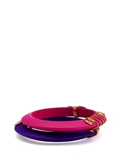 Pink and Purple Wooden Bangles (Set of 2) - Eesha Zaveri; Jewellery By Design