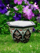 Black and White Hexagonal Planter with Shaded Motifs -  online shopping for Pots & Planters