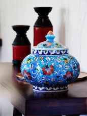Blue Round Pot with Lid and Red Floral Motifs -  online shopping for Canisters & Jars