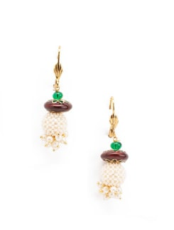Enamel work and pearl cluster earrings - OARS 7894