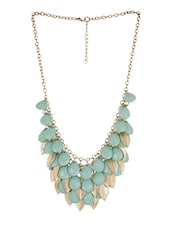 Turquoise Beads With Golden Leaves Necklace -  online shopping for Necklaces