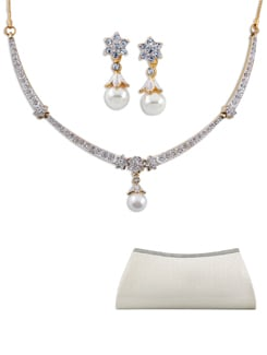 Austrian Diamond Necklace Set (Free Clutch Bag) - Oleva