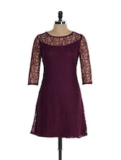 Burgundy Lace Dress -  online shopping for Dresses
