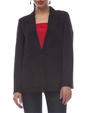 Black poly crepe formal blazer -  online shopping for Blazers