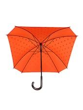 Orange And White Polka Dot Square Umbrella - By