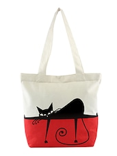 Lazy cat red and white shopping bag -  online shopping for Shopping Bags