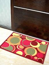 Red Geometric Printed Nylon Doormat - By