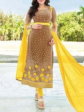 Yellow And Brown Semi Stitched Georgette Suit Set - By