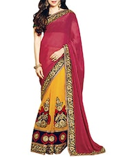 Red Net And Georgette  Jacquard Embroidered Saree - By