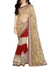 Brown Net And Georgette Patli Worked Saree - By