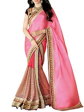 Pink Net And Chiffon Hand Worked Saree - By