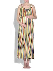 Multicolored Striped Viscose Maxi Maternity Dress - By