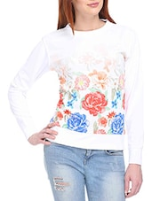 White Floral Printed Blended Cotton Sweatshirt - By