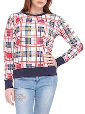 Multicolored Checkered Blended Cotton Sweatshirt - By