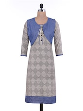 Grey Printed Jacket Style Cotton Kurta - By