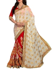 Multi Embroidered And Embellished Georgette Skirt And Viscose Pallu Half & Half Saree(Red,Off-White) - By