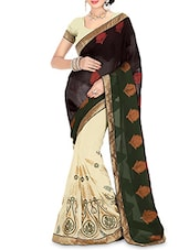 Cream And Black Embroidered Georgette Saree - By