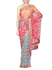 Turquoise Green Faux Georgette And Coral Net Embroidered Saree - By
