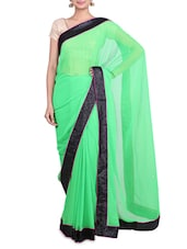 Green Georgette Saree With Sequin Border - By