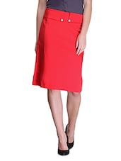Red Cotton And Satin Solid Regular Fit Pencil Skirt - By