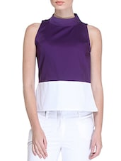 Purple Cotton Satin Lycra Sleeveless Slim Fit Top - By