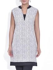 White Cotton Printed Sleeveless Kurta - By