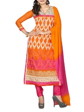 Orange And Pink Georgette Embroidered Semi Stitched Suit Set - By