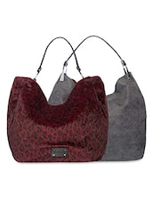 Black And Maroon Animal Printed Reversible Hobo Bag - By
