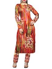 Multi Satin Cotton Printed Salwar Suit Set - By