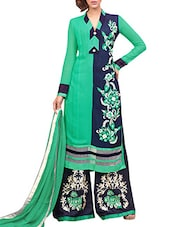 Green Faux Georgette Embroidered Salwar Suit Set - By