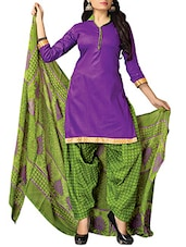Purple Cotton Printed Salwar Suit Set - By