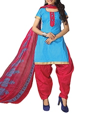 Blue Cotton Printed Salwar Suit Set - By