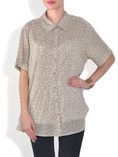 Beige Cotton Pin Tucked Top - By