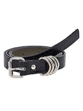 Black Faux Leather Belt - By