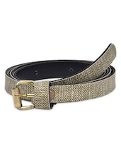 Grey Textured Faux Leather Belt - By