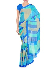 Blue And White Chiffon Printed Saree - By