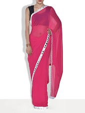 Dark Pink Georgette Saree With Mirror Work - By