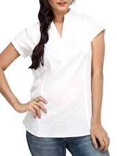 Solid White Cotton Top With Mandarin Collar - By