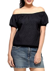 Black Cotton  Short Sleeves Balloon Top - By