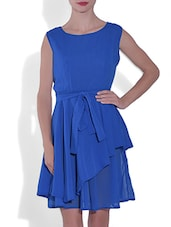 Blue Gathered Poly Georgette Dress With Belt - By
