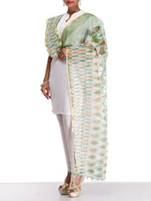 Off White Printed Blended Cotton Dupatta - By