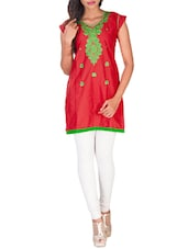 Red Embroidered Blended Cotton Kurti - By