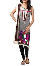 Grey Net Embroidered Churidar Suit - By