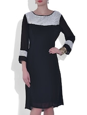 Black Laced Quarter Sleeved Georgette Dress - By