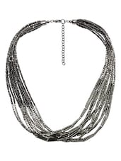 Silver Multiple Beaded Metallic Necklace - By