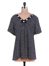 Black Polka Dot Printed Rayon Smock Top - By